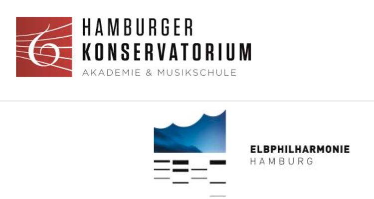 Logos Hamburger Konservatorium und Elbphilharmonie